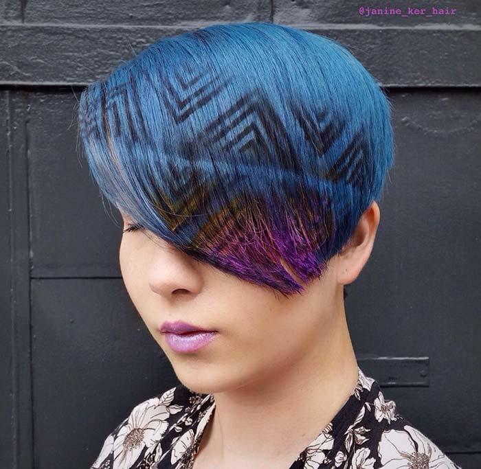 diseño geometrico en el cabello