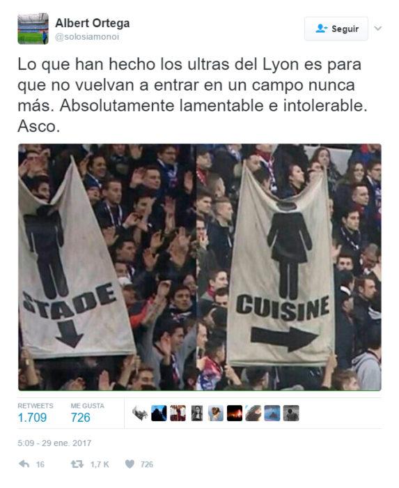Mensaje en twitter sobre los carteles machistas en un juego de fútbol francés