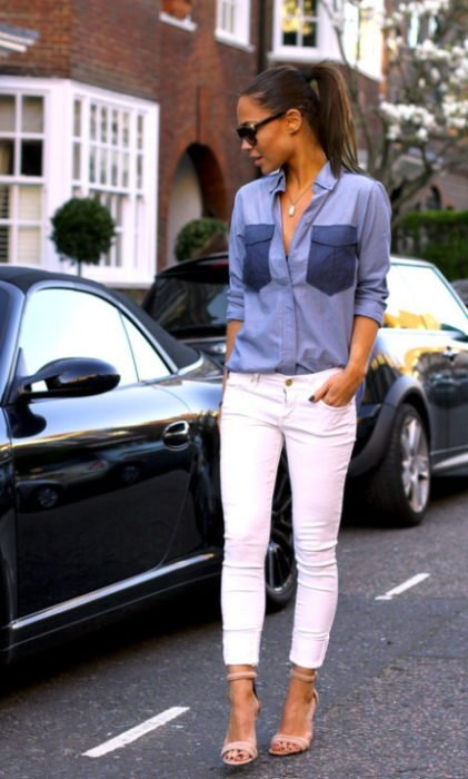 Pantalón blanco mezclilla