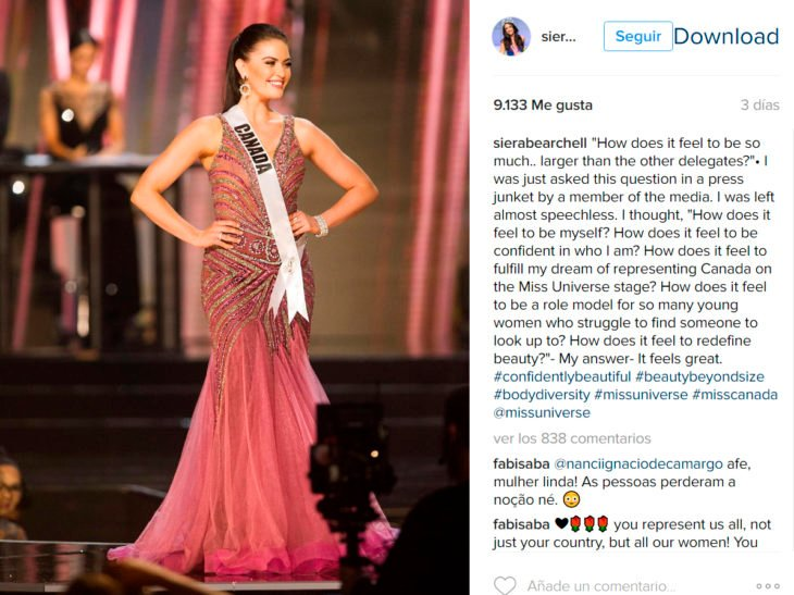 Mensaje de Miss Canadá en Instagram