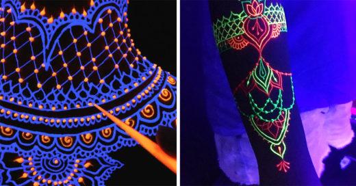 Los tatuajes de henna neón serán tu nuevo accesorio favorito para las noches de antro