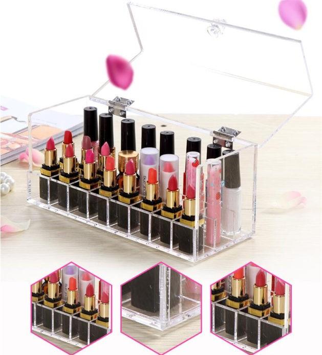 organizador de labiales con caja transparente