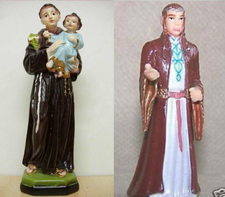 figura de santo catolico y figura señor de los anillos