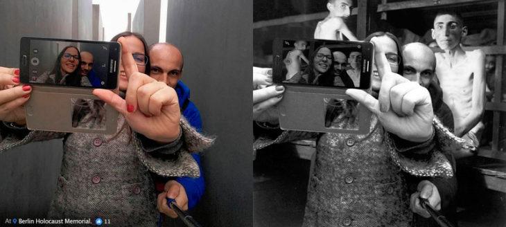 Artista le da lección a irrespetuosos del holocausto con fotografías