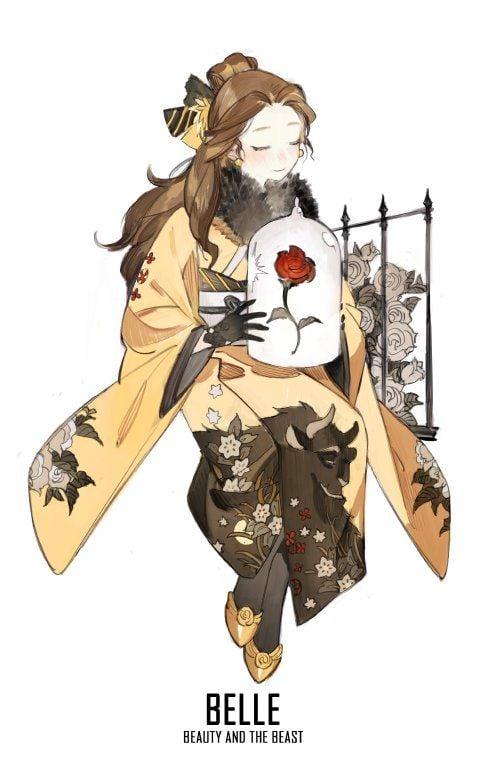 bella disney anime kimono