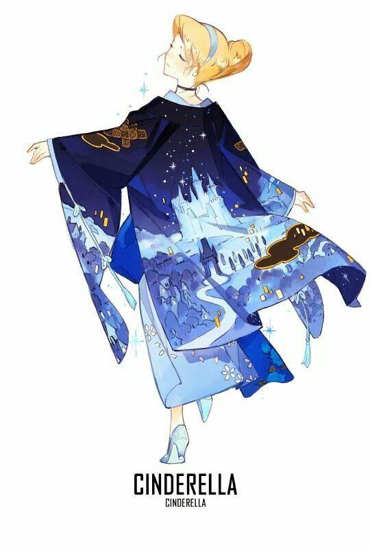 cenicienta Disney kimono anime