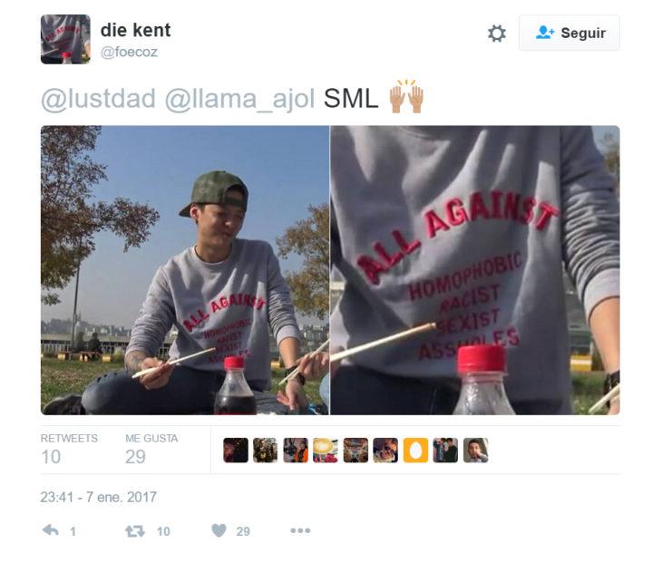 Mensaje Twitter para apoyar a un chico que uso una camisa contra la homofobia