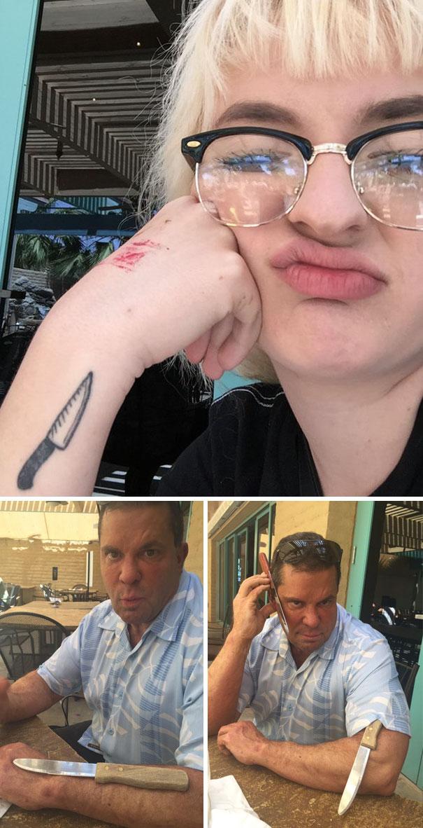 un padre se burla del nuevo tatuaje de su hija