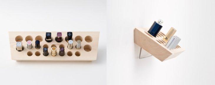 organizador de labiales de madera