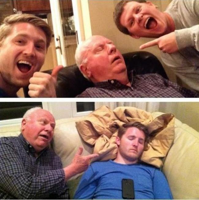 abuelo les juega la misma a sus nietos