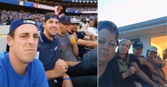 una madre hace replica de la foto de su hijo y sus amigos