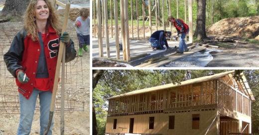 Esta mujer y sus hijos construyen una casa con tutoriales de YouTube