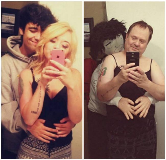 papás juegan a imitar a su hija con su novio tomándose selfie en el espejo