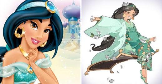Las princesas Disney ilustradas al estilo Japones