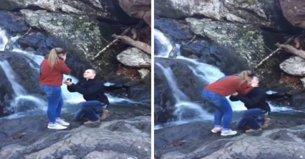 Una propuesta de matrimonio entre cascadas se volvió el #Fail de romance más épico en Internet