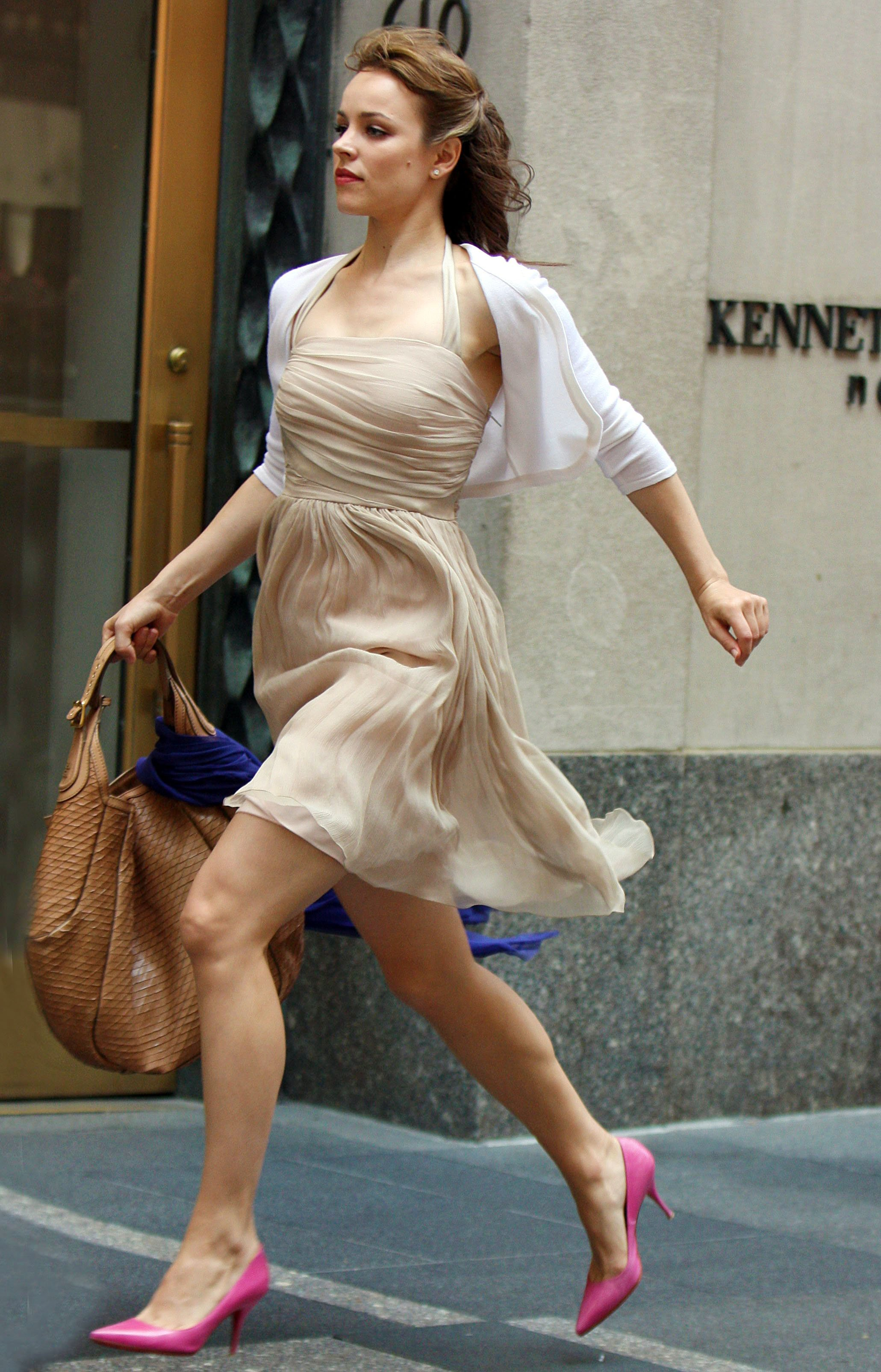 rachel mcadams late for work