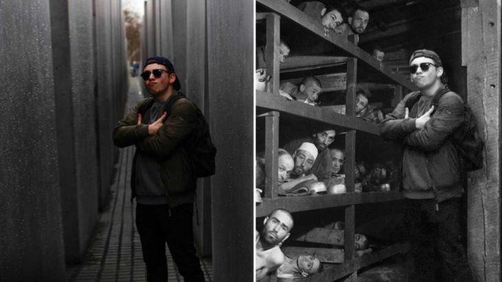 Chico parado en el memorial del holocausto en Berlín