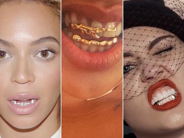 mujeres con joyería en sus dientes