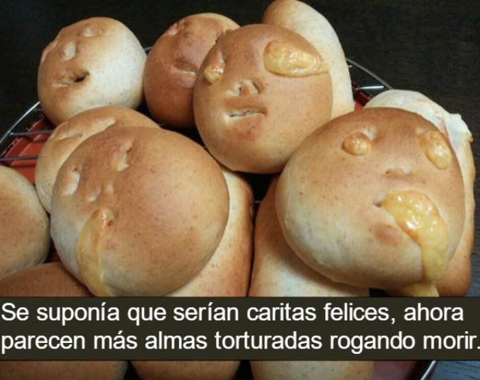 panes con caras y frase