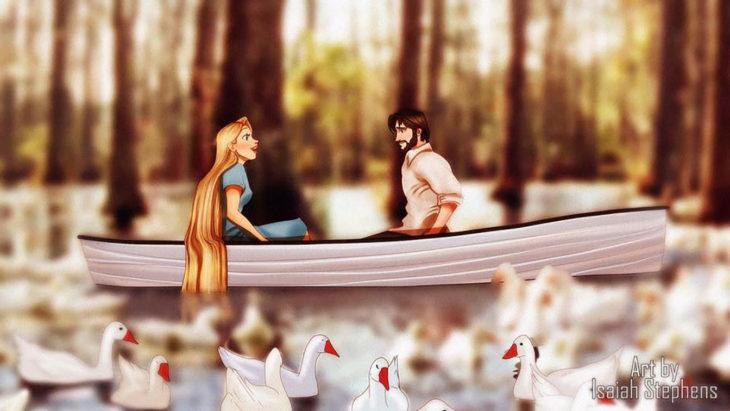 pareja en un lago con patos