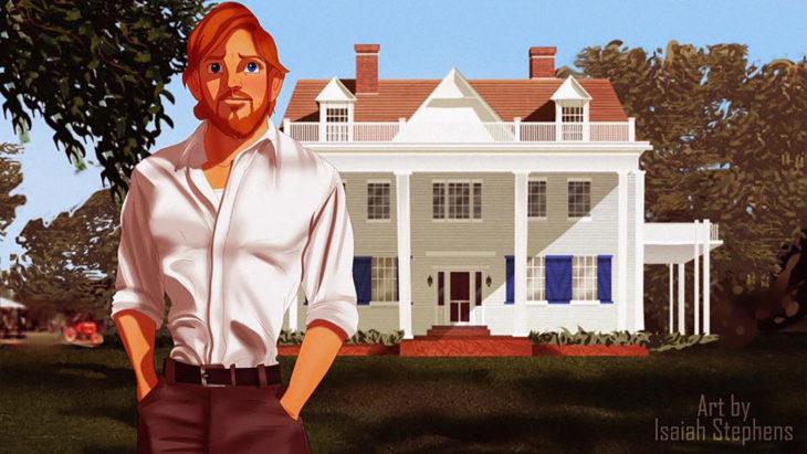 caricatura de hombre pelirrojo en frente de una casa