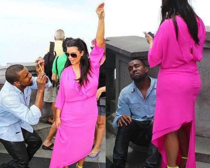 hombre tomando foto a mujer de vestido rosa