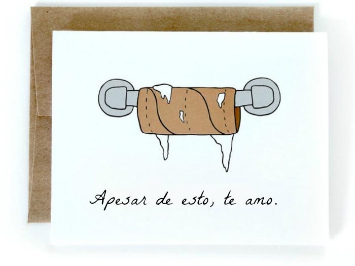 tarjeta con ilustracion de tubo de papel de baño con frase