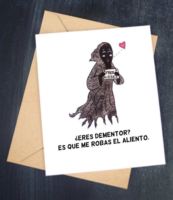 tarjeta con ilustración y frase