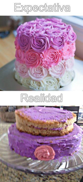 pastel rosa con morado y flores