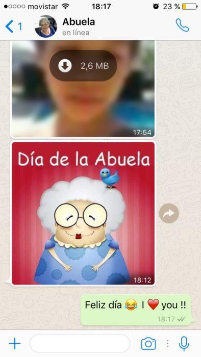 Converación de una abuela en whatsapp