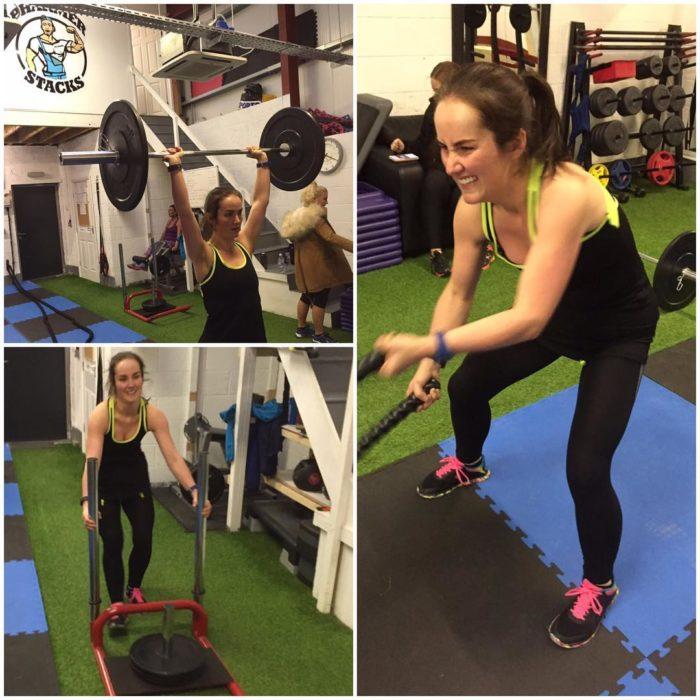 Jenifer Ginley haciendo ejercicio