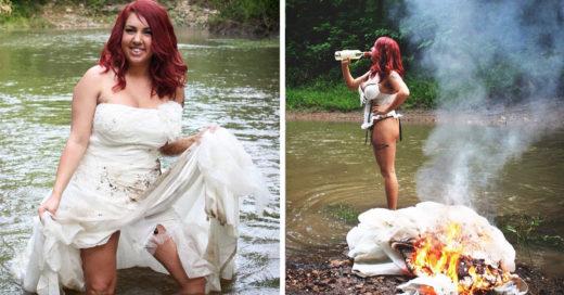 Celebra su divorcio quemando su vestido de novia
