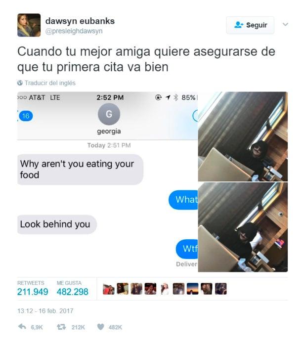 Publicación de una chica en twitter para su mejor amiga