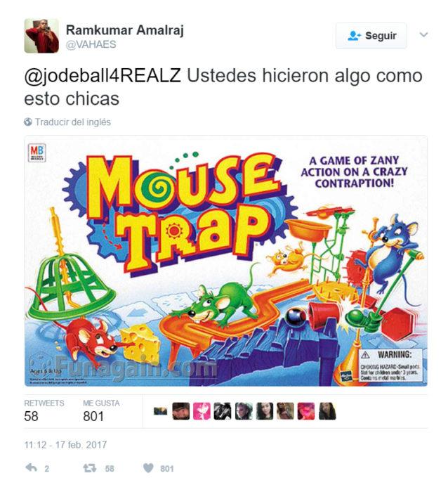 Twitter sobre chicas que corrieron a una rata