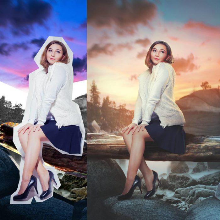 Fotografía editada con photoshop que muestra un antes y después con distintos paisajes
