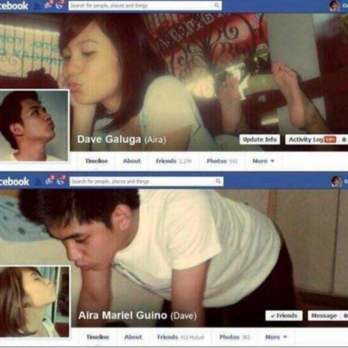 Muro de facebook con unos chicos enamorados