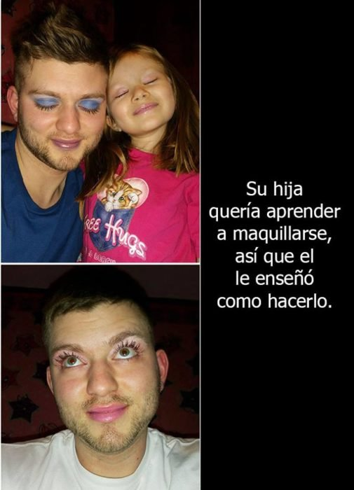 Padre soltero maquillando a sus hijas