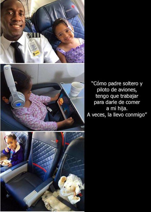 Padre soltero cuidando a su hija cuando es piloto de avión