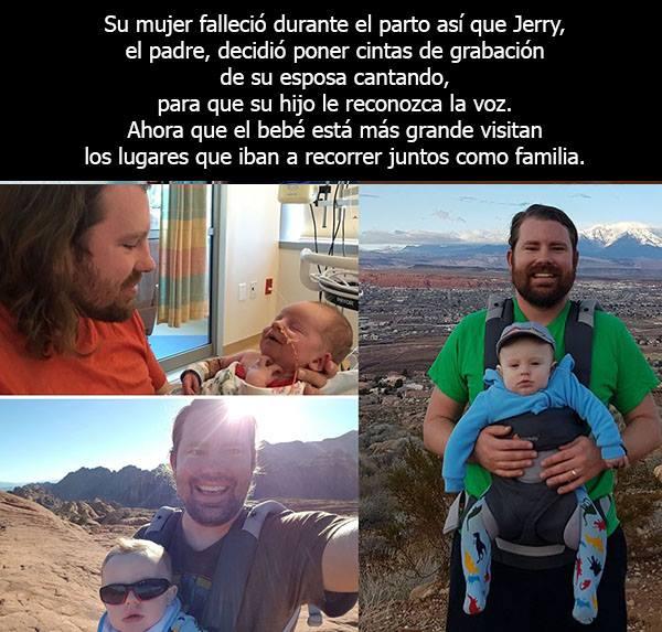 Padre soltero viajando con su bebé