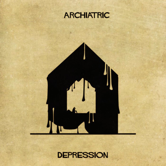 Ilustraciones enfermedades mentales en forma de casa