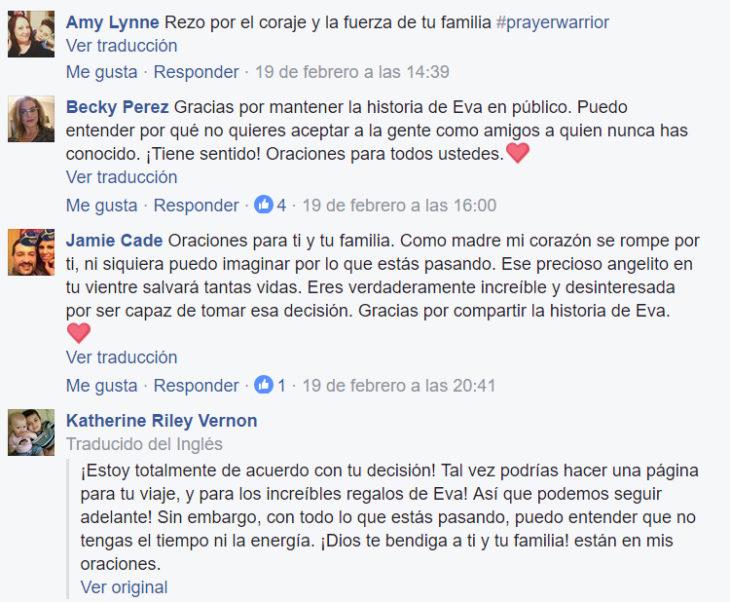 Comentarios en facebook sobre madre que donará los órganos de su bebé