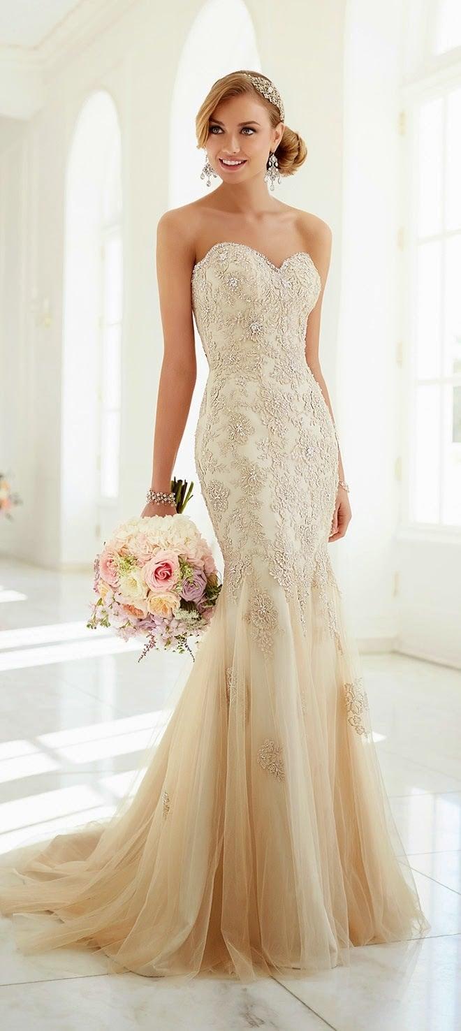 Vestidos de novia color blanco perla