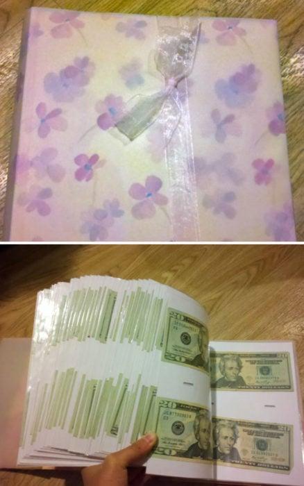 Album de fotos relleno de dinero