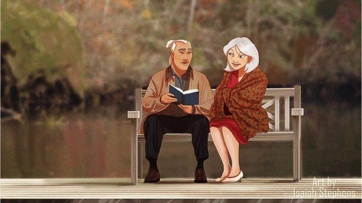 hombre sentado leyendo a mujer