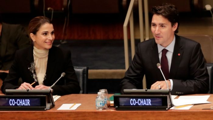 Primer ministro de canadá junto a la reina de jordania