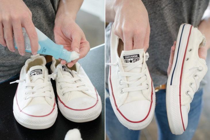 Limpieza de tenis con removedor de esmalte