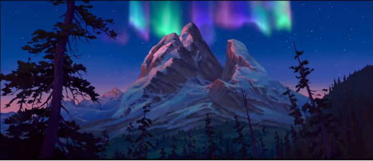 imagen animada de montañas y colores en el cielo
