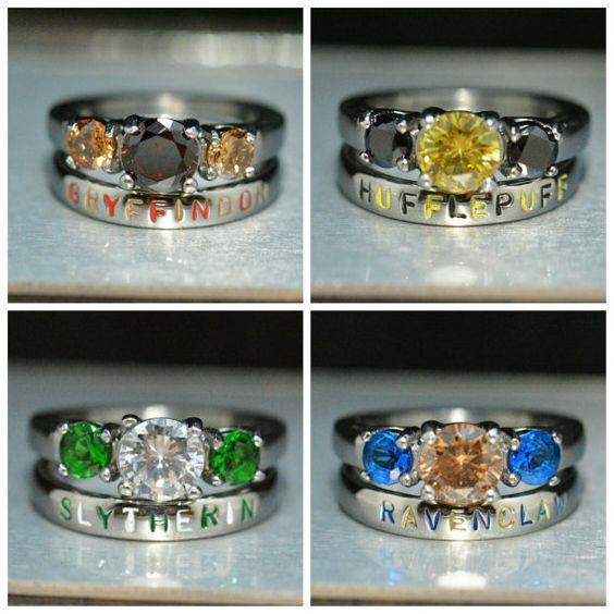 anillos de las casas de harry potter