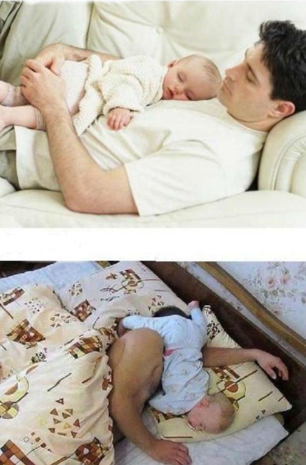 bebe con papá en la cama