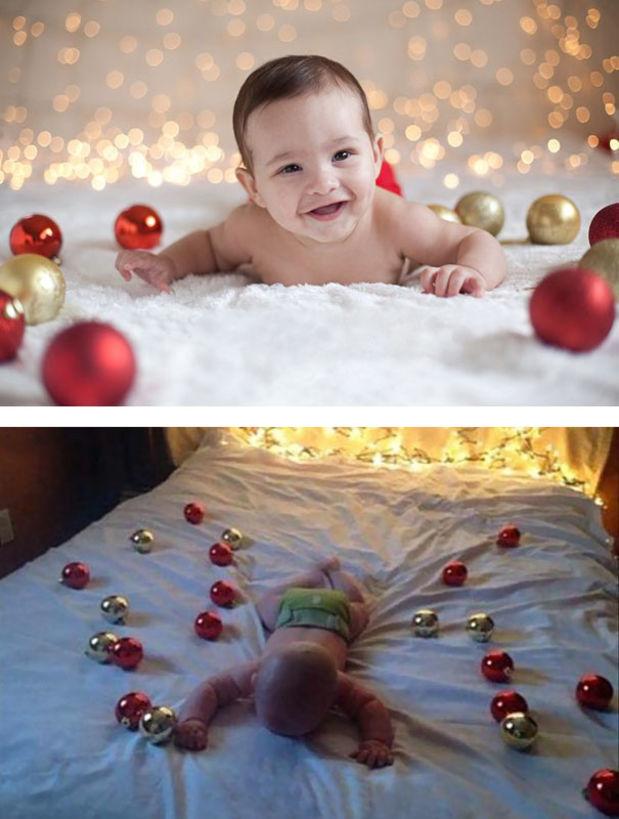 bebe en la cama con esferas y luces